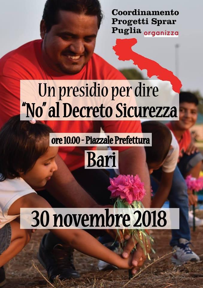 NO al Decreto Sicurezza - Presidio a Bari