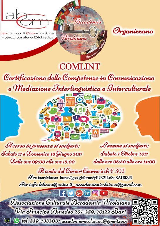 Certificazione COMLINT in Comunicazione e mediazione interlinguistica ed interculturale